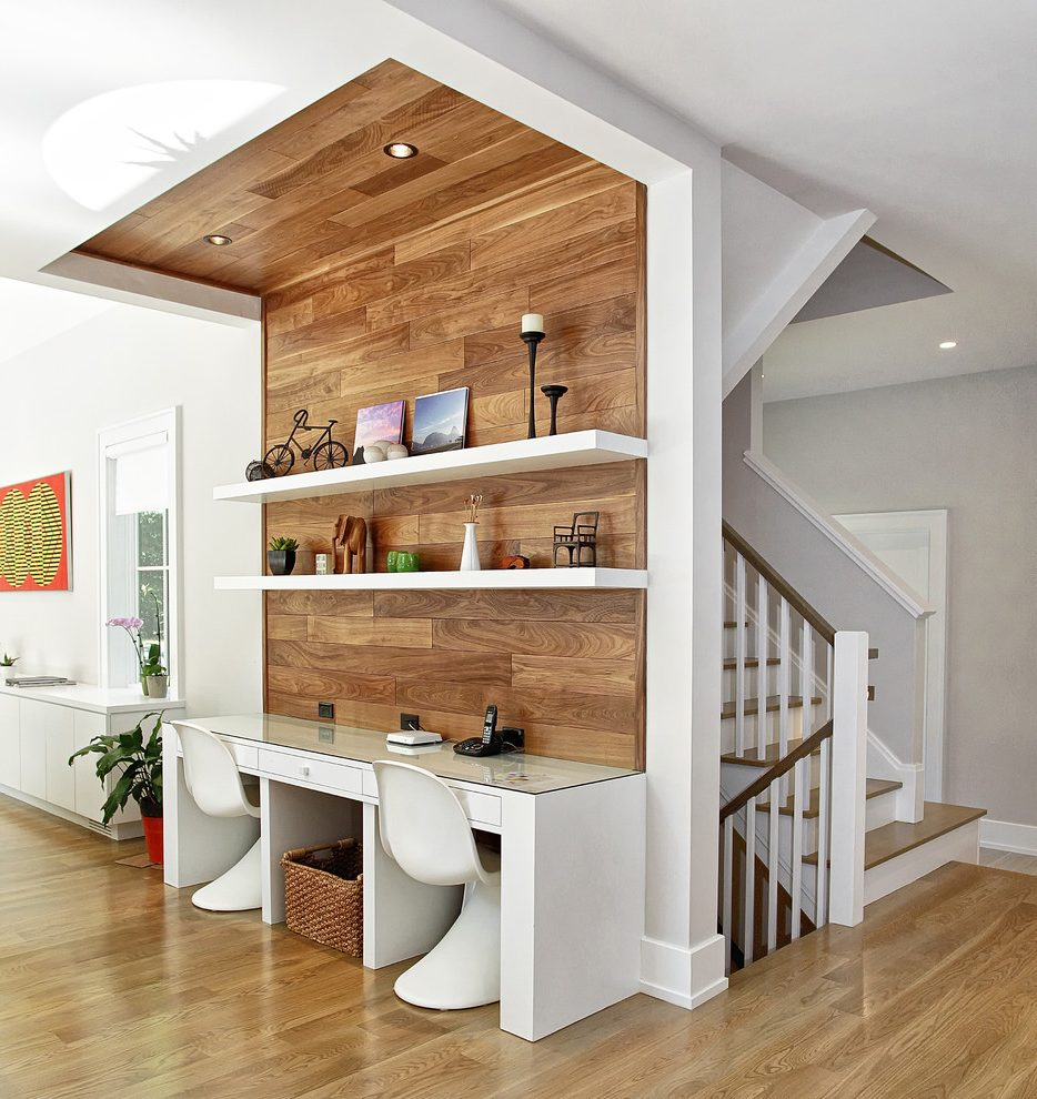 Home Office pharmacy task floor lamp Contemporary Westport, CT with home theater and automation professionals wood paneling