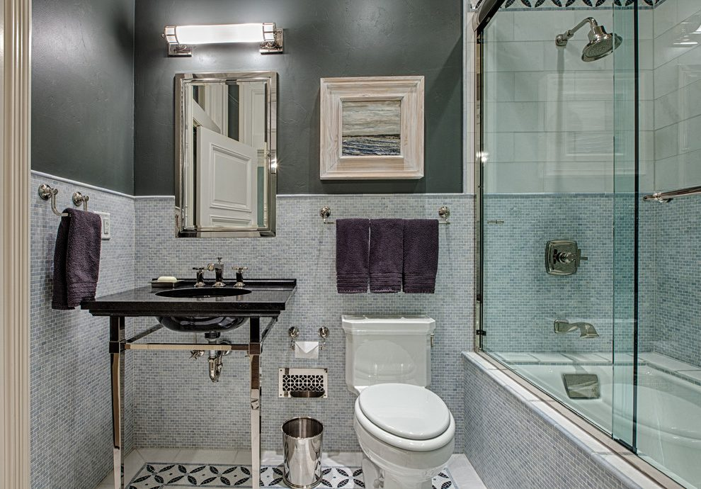 Other shower design pictures Bathroom Contemporary with tiled tub front