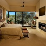 Bedroom behr brown paint Southwestern Singular Space, 1st place with window treatment professionals moroccan tile