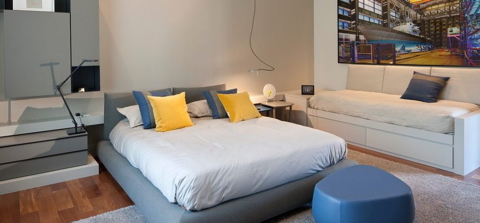 Mexico City grey and white bedrooms Bedroom Contemporary with window dealers installers gray yellow teal