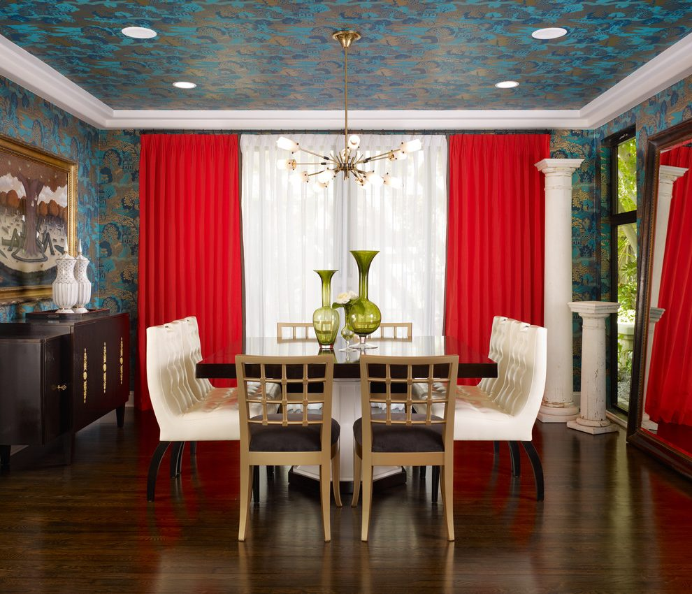 Orange County home goods dining room chairs Dining Room Eclectic with stagers inverted pleat curtains