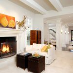 Boston white fluffy pillows Living Room Contemporary with fireplace manufacturers and showrooms photo