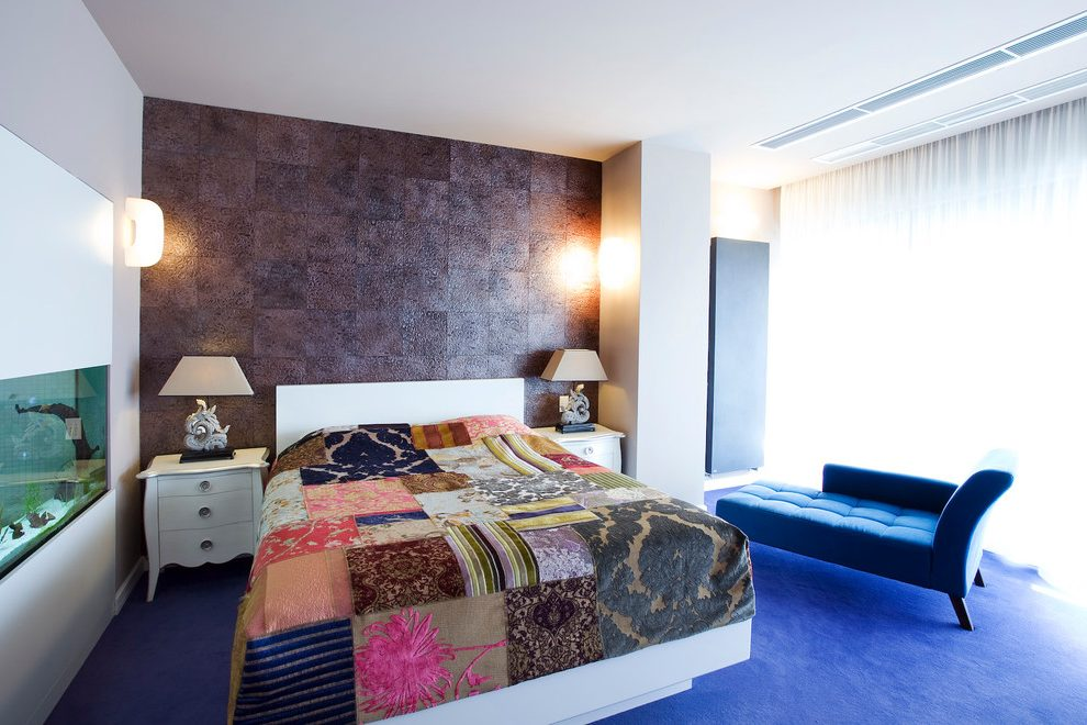 Other white and purple bedroom Bedroom Contemporary with blue carpet