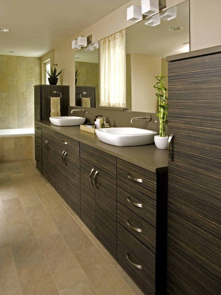 Seattle l shaped bathroom vanity Bathroom Modern with stone and countertop manufacturers showrooms undermount sink in laminate
