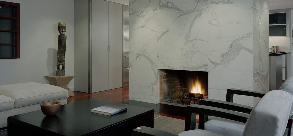 Seattle white marble carrara Living Room Contemporary with window dealers and installers fireplace surround