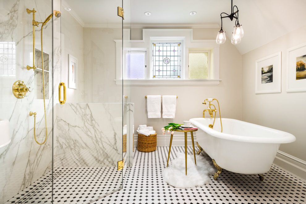 Vancouver white marble carrara Bathroom Traditional with kitchen and bathroom designers allen roth ideas