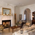 Living Room fireplace marble surround Traditional Arts Classic with window treatment professionals living room center table ideas