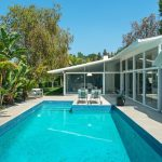 Los Angeles mid century lounge Pool Midcentury with hot tub and spa dealers mid-century hip roof