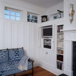 Portland Maine fireplace marble surround Living Room Beach Style with window treatment professionals entry closet