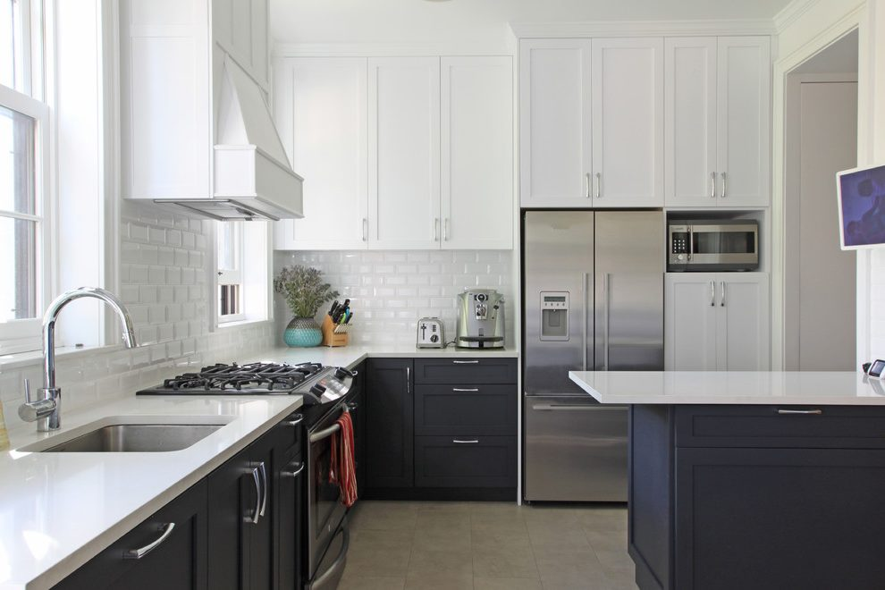 Delightful luxury kitchen cabinets Transitional Kitchen in New York with glass front storage and