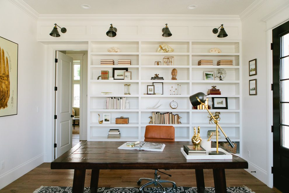 Salt Lake City built in bookshelves with desk Home Office Farmhouse cabinet and cabinetry professionals bohemian style home office ideas