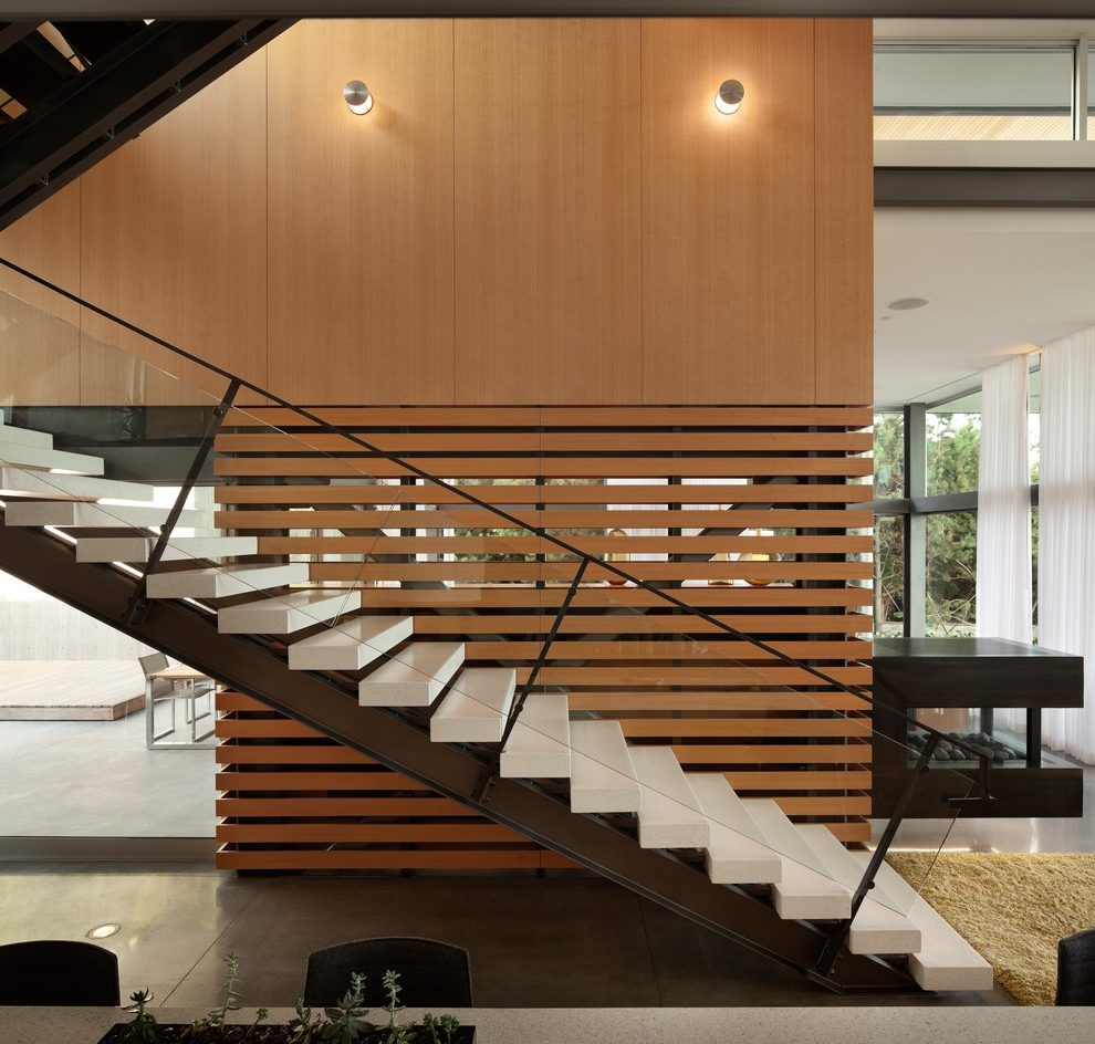 Seattle Stair Rail Ideas Staircase Modern Staircase With Eat In | Mid Century Modern Stair Handrail | Wrought Iron | Basement | Bannister | Modern Style | Contemporary Curved Staircase