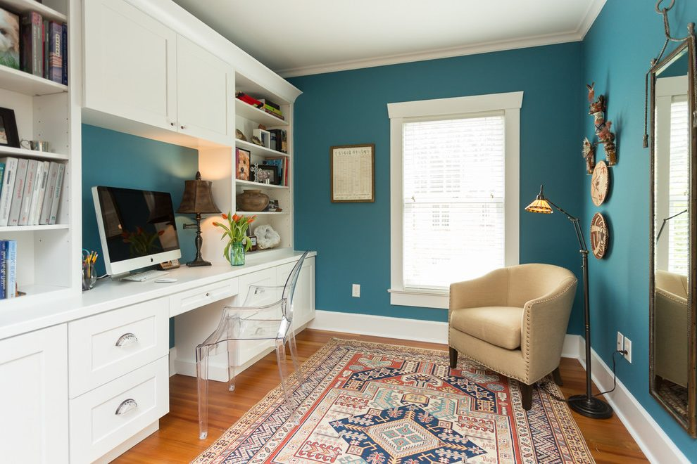 Tampa built in bookshelves with desk Home Office Transitional closet designers and professional organizers white crown molding