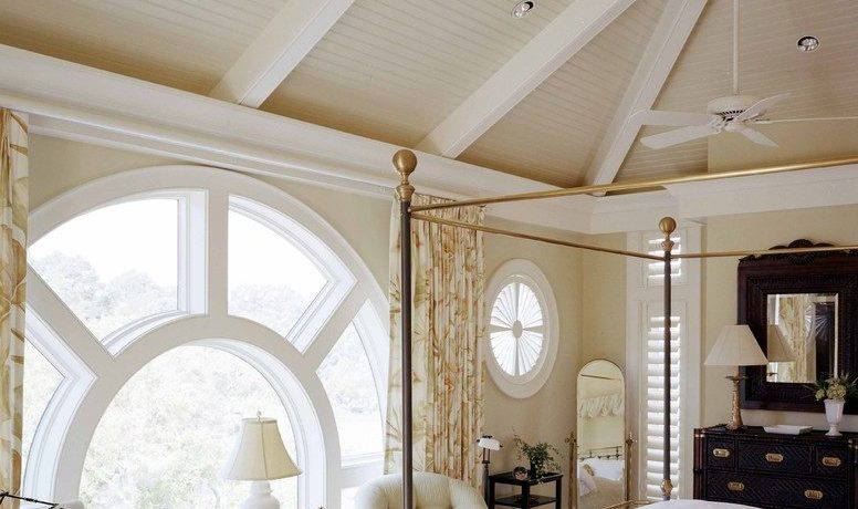 Beautiful wicker ceiling fans Traditional Bedroom in Atlanta with recessed lighting and exposed beams