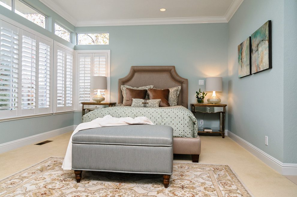 Blooming camelback upholstered headboard Transitional Bedroom in San Francisco with bench and light blue walls