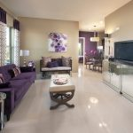 Dishy purple room accessories in with range hood and recessed lighting