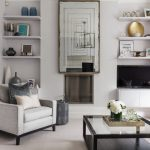 Pretty heart shaped wall mirror Transitional Living Room in London with dining hutch and kitchen island