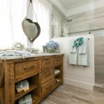Splendid heart shaped wall mirror in with gray subway tile and Large marble Island