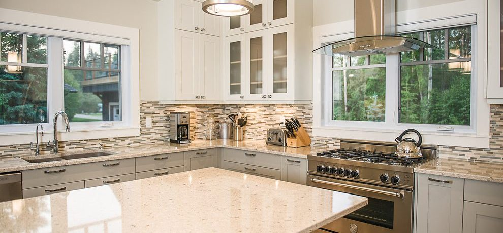 Fabulous stainless steel backsplash shelf Transitional Kitchen in Other with mosaic and appliances