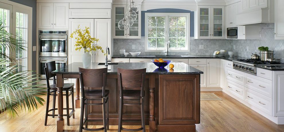 Magnificent staining kitchen cabinets Transitional Kitchen in New York with turned leg and blue walls