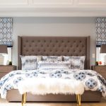 Blooming grid tufted headboard in with fabric shade and bedside table