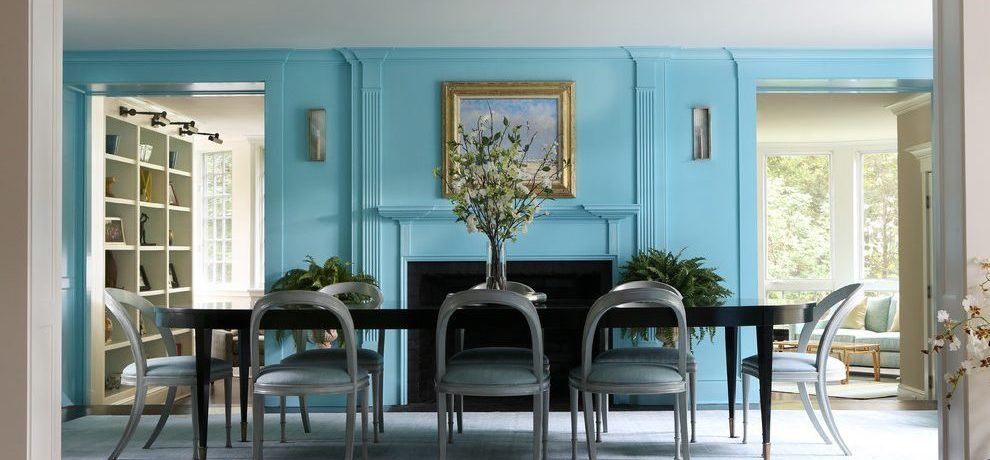 Dishy contemporary wall sconces in with Painted blue accent and dining room ideas
