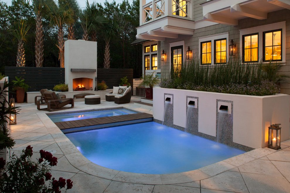 Extraordinary pondless water feature in with Pool Water Feature and glass door