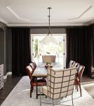 Impressive Dining Wing Chair Transitional Dining Room interior Designs with Rustic Wood Table and Leather