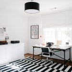 Impressive home office desks ikea in with white roman shade and red accent