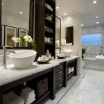 Impressive marble for bathrooms Transitional Bathroom in Orange County with double sink and tile bathtub