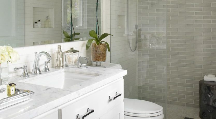 Terrific shower tile border Transitional Bathroom in San Francisco with apothocary jar and white carrera marble
