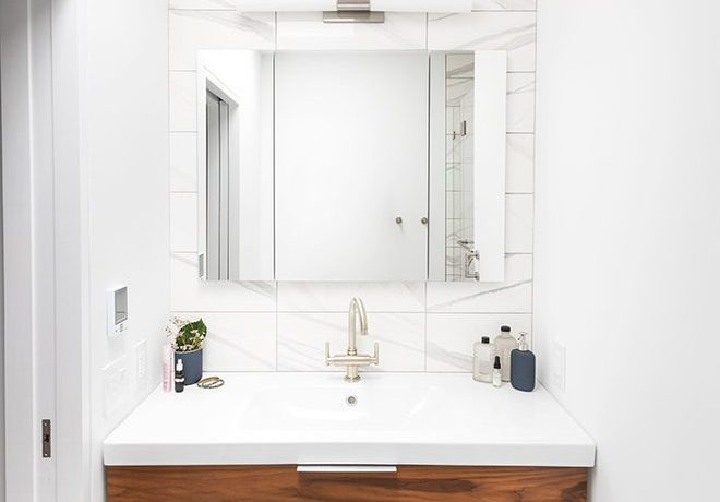 Wonderful very small bathroom Contemporary Bathroom in New York with white walls and gold tan brown ideas