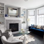 Good-Looking light gray room in with classic design and living display shelves
