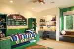 Astonishing Orange Bedroom Accessories Contemporary Kids interior Designs with Wall Stripe and Tree Decal