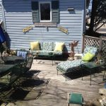 Good-looking slipcovered chaise lounge Eclectic Deck in New York with Pillows and Throws outdoor lounges