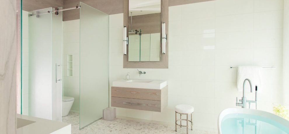 Imaginative bathroom wall sculptures North Truro, MA Contemporary in Bathroom with wood accents and flat panel cabinets