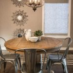 Impressive 54 round pedestal Rustic Dining Room in Calgary with table and roman shade