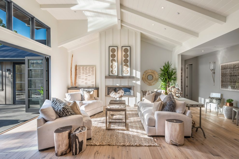 Outstanding Room with Cream Farmhouse Living Room interior ...
