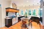 Pleasing Black Cabinets Kitchen Farmhouse Kitchen interior Designs with Wood Plank Floors and Wood Floors