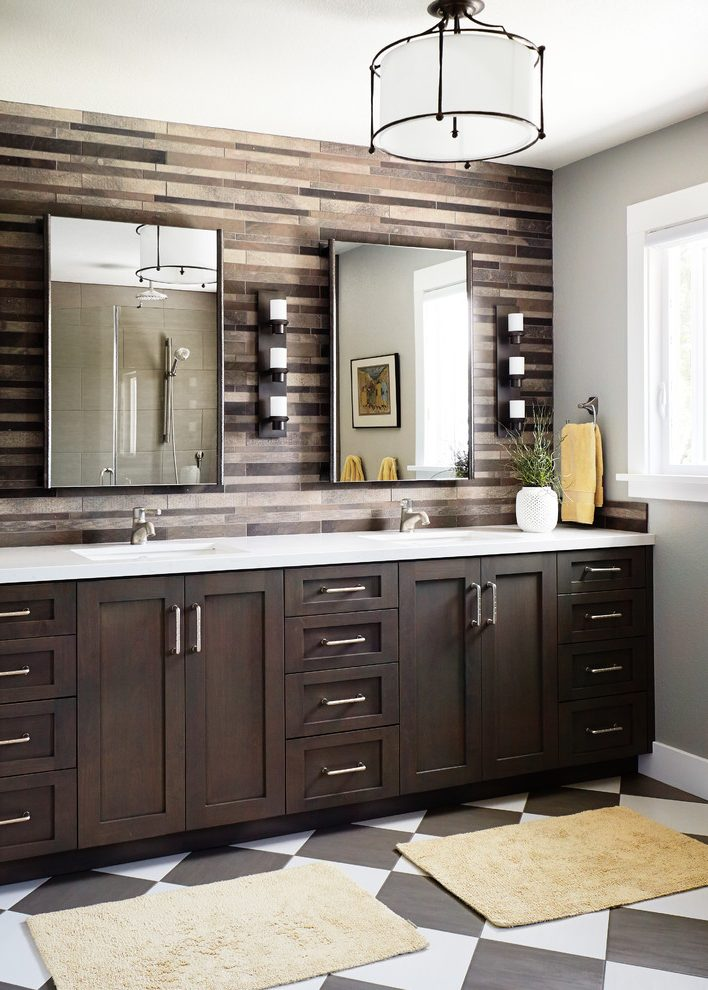 San Francisco Bathroom Vanities Costco Transitional Bathroom Accent Wall Black And White Checkered Floor Black And White Floor Brown Tile Backsplash