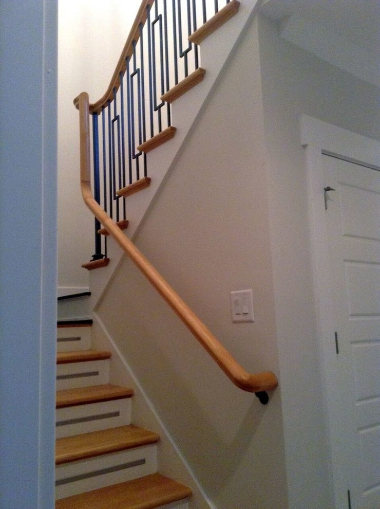 Wall Mounted Handrail Staircase Black Iron Spindles Light Wood | Banister Rail And Spindles | Square | Traditional | Carved Wood | Residential | Glass