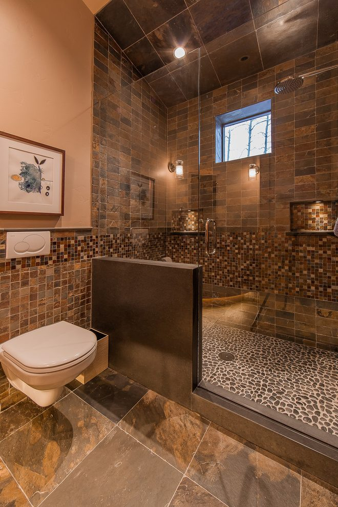 brown tile ceiling and heavy timber