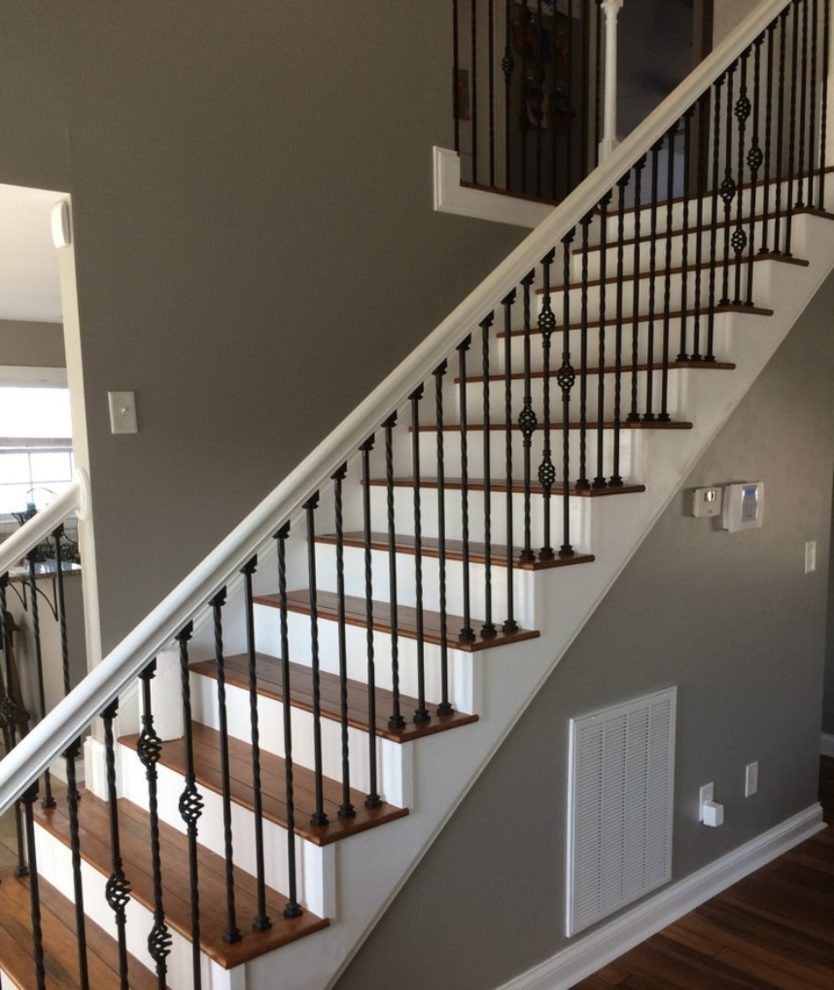 Dishy Wrought Iron Stair Railing Home Renovations With Hand Rail | White Wood Stair Railing | Entryway Stair | Metal | Outdoor Stair | Baluster Curved Stylish Overview Stair | Glass