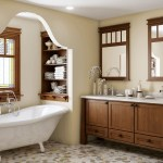 Bathroom Vanity Cabinets Craftsman Bathroom Framed Cabinetry And Canyon Creek Built In Shelves Canyon Creek Cabinet Company Cornerstone Framed Cabinetry Mosaic Tile Floor Stained Glass Window Wall