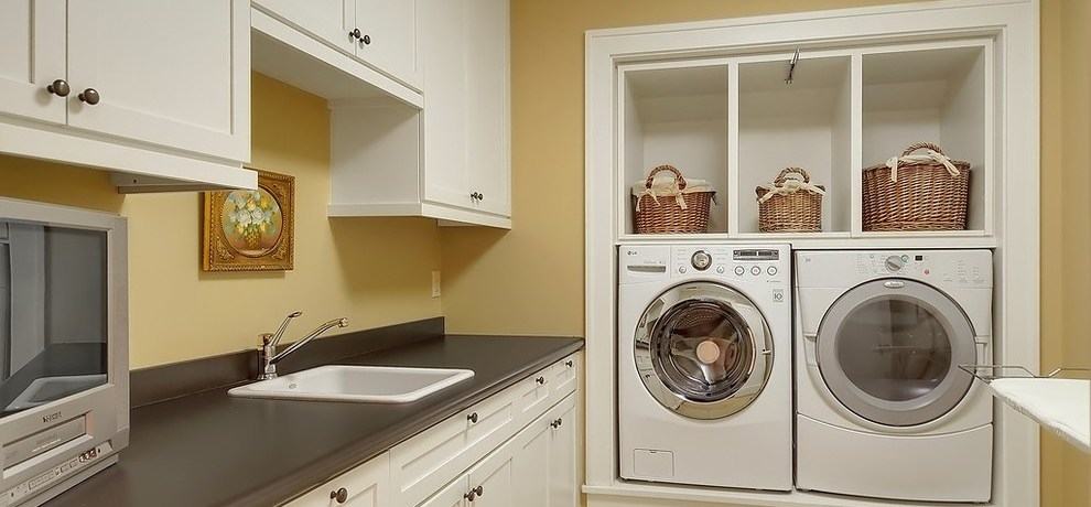 Benjamin Moore Marscapone   Craftsman Home Laundry Room And Cozy Laundry Rooms Basket Storage Benjamin Moore Paint Color Built In Cabinets Cozy Laundry Rooms Craftsman Home Room Frame And Panel