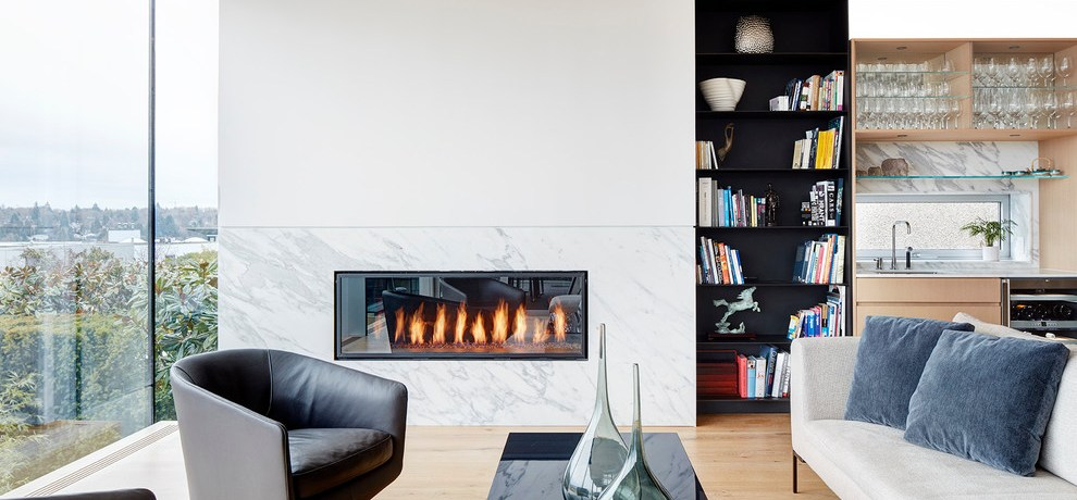 Cabinets Around Fireplace Contemporary Living Room Gas Fireplaces And High Gloss Bianco Carrara Black & White Armchairs Bookcase Built In Cabinets Contemporary Fireplace Surrounds Floor To Ceiling