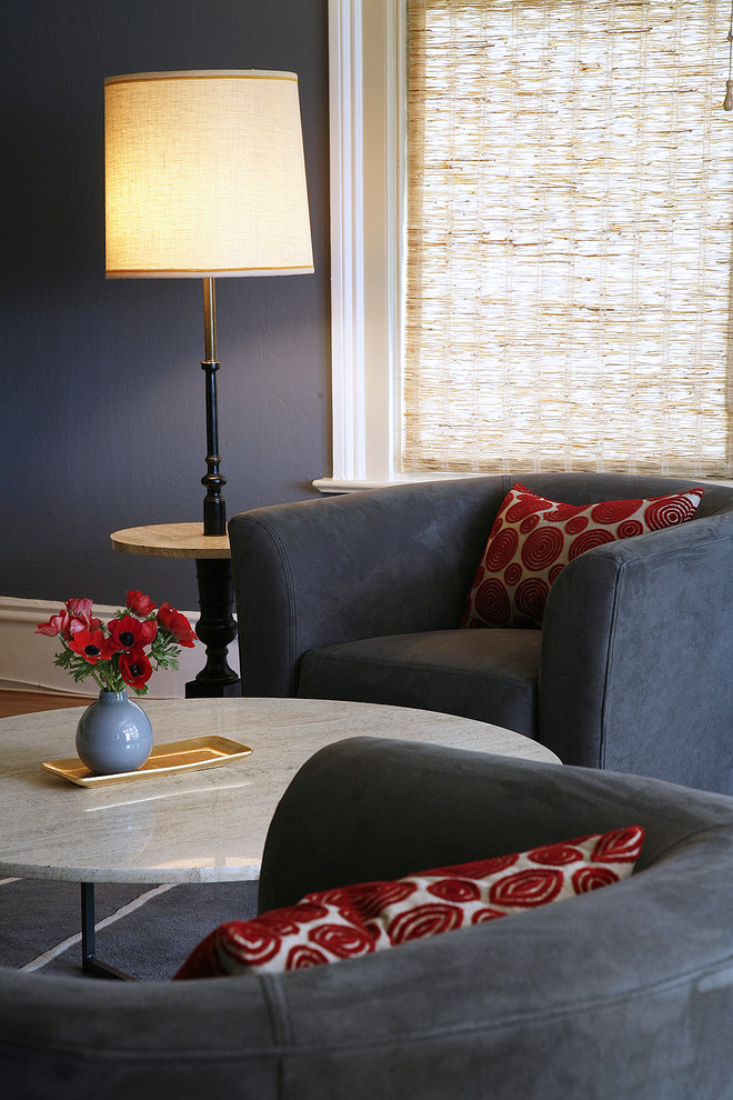 Coffee Table Height Lounge Area By Kimball Starr Interior Design Contemporary Designers San Francisco And San Francisco Interior Designers Blue Walls White Trimming CA Interior Decorators Club Chairs