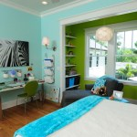 Espresso Ladder Bookshelf Craftsman Style  White Trim And Turquoise Wall Bright Colors Built-in Bookshelf Crown Molding Green Chairs Kids Bedroom Lime Wall Pendant Lamp Reading Nook Recessed Light