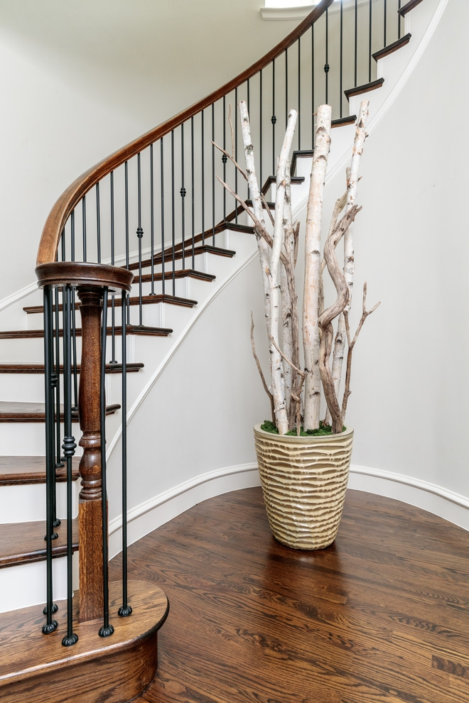 Dallas Wrought Iron Spindles Traditional Staircase Black Stair | Iron And Wood Staircase | Internal | Farmhouse | Free Standing Wood | Modern | Design