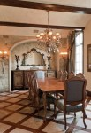 Amazing French Country Dining Room Sets Dining Room Traditional with Console Chandelier Ceiling Beams Table Wood Floor Formal